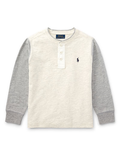 Slub Jersey Henley T-Shirt, Size 2-4