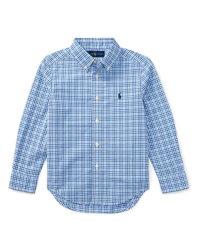 Poplin Plaid Button-Down Shirt, Blue, Size 5-7