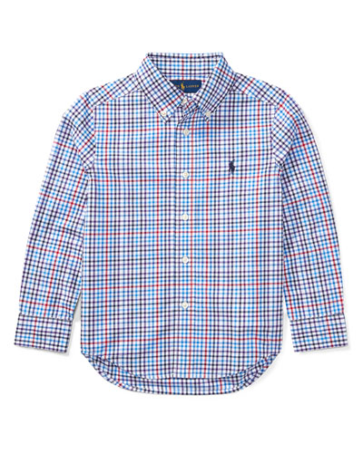 Poplin Plaid Button-Down Shirt, Blue/Red, Size 5-7