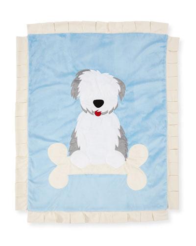 Puppy Love Plush Baby Blanket, Blue