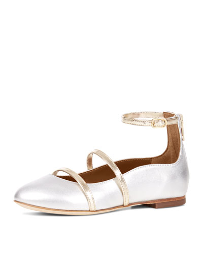 Robyn Metallic Leather Ankle-Strap Flat, Toddler/Youth