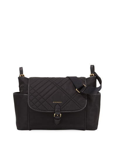 Flap-Top Quilted Diaper Bag