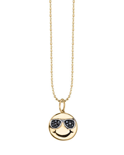 Happy Face Pendant Necklace with Black Diamond Sunglasses