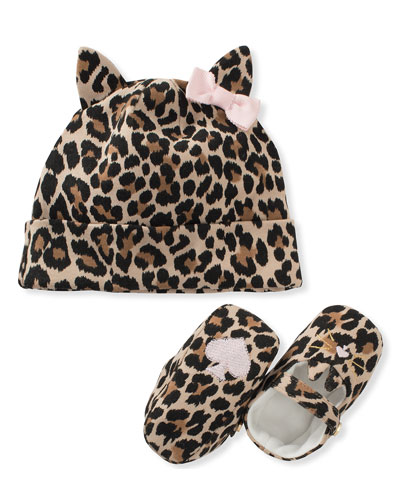 leopard-print baby hat & mary jane crib shoe set