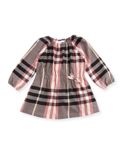 Kadyann Check Long-Sleeve Dress, Size 6M-3Y