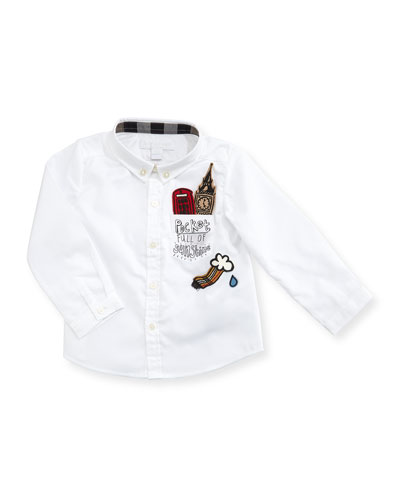 Fred London Patches Button-Down Shirt, Size 6M-3Y