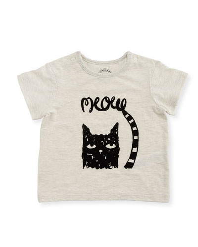 Meow Short-Sleeve Jersey Tee, Size 6M-3Y