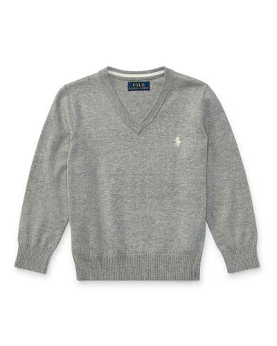 Long-Sleeve V-Neck Sweater, Gray, Size 2-4