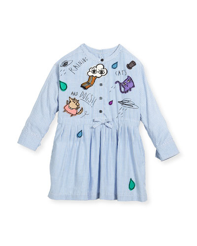 Cristy Mixed-Patches Dress, Size 4-14