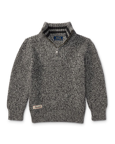 Cashlike Half-Zip Marbled Cotton Pullover, Multi, Size 2-4