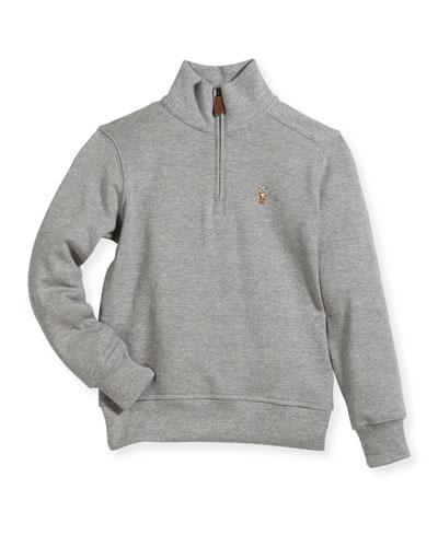 Pima Cotton Half-Zip Pullover Half-Zip Sweater, Size 2-4