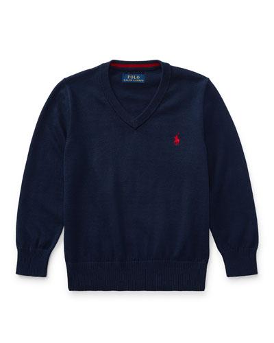 Long-Sleeve V-Neck Sweater, Navy, Size 5-7