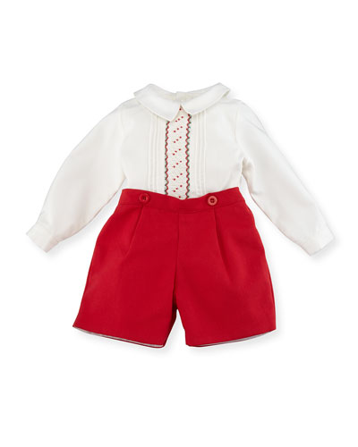 Smocked Shirt w/ Shorts, Size 3-24 Months
