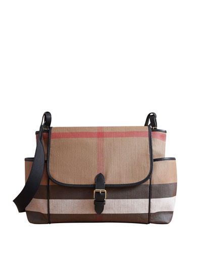 Flap-Top Check Canvas Diaper Bag