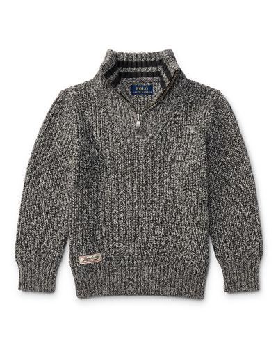 Cashlike Half-Zip Marbled Cotton Pullover, Multi, Size 5-7