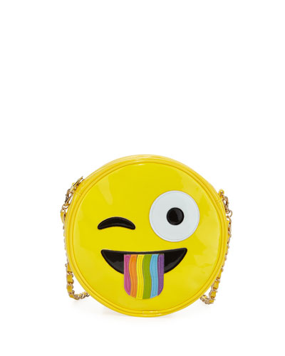 Girls' Rainbow Tongue Crazy Face Emoji Crossbody Bag