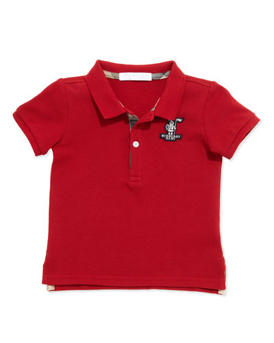 Palmer Infant Boys' Check-Trim Polo, Red, 6-18 Months