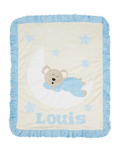 Personalized Goodnight Teddy Plush Blanket, Blue
