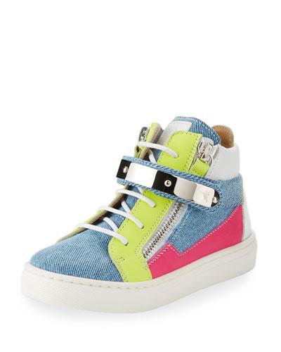 Ares Denim Patchwork Sneaker, Toddler