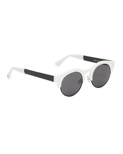 Kids' So Fashion Round Sunglasses, Black/White