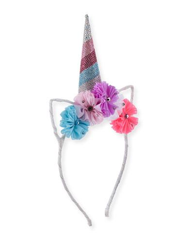 Girls' Crystal Unicorn Horn, Flowers & Ears Headband, Pink/Blue