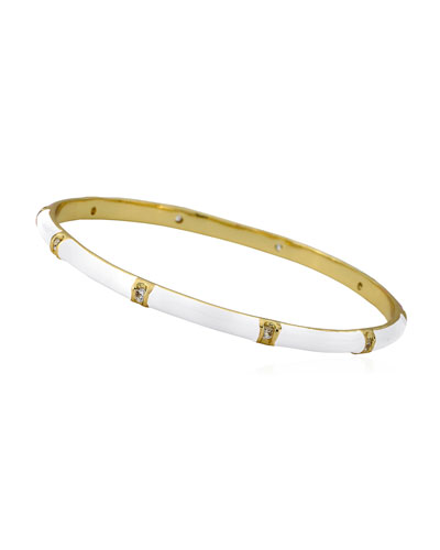 Girls' 14k Gold Plated Brass Station Enamel Bangle, White