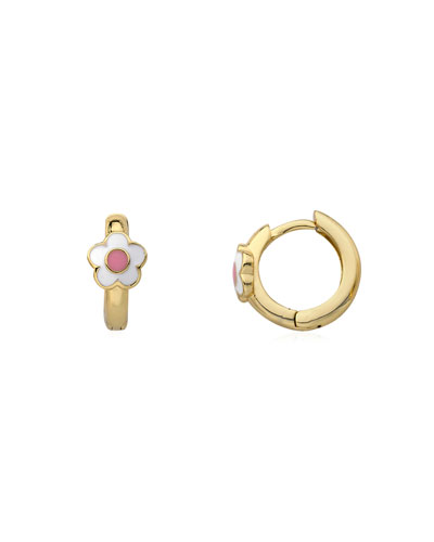 Girls' Huggy Flower Hoop Earrings, White