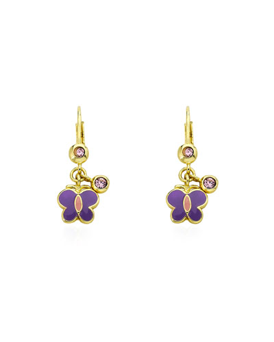 Girls' Dangle Butterfly Earrings, Purple
