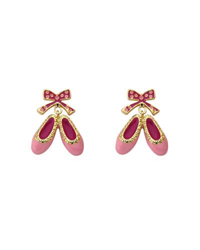 Girls' Enamel Hanging Ballet Slipper Earrings, Pink