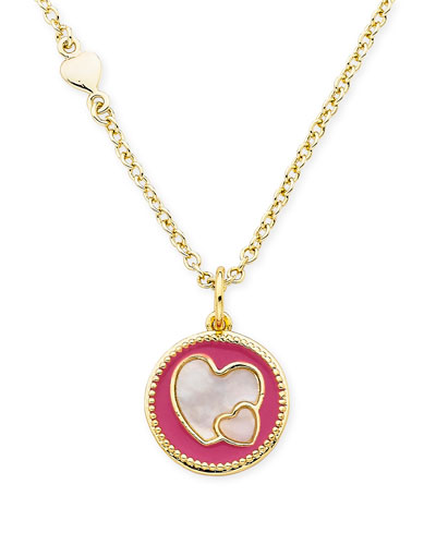 Girls' Heart Pendant Necklace, Hot Pink