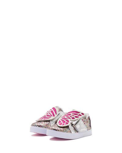 Bibi Butterfly Low-Top Glittered Sneaker, Size 5T-3Y