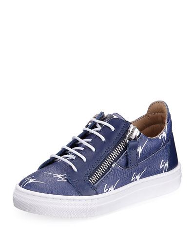 Logo-Print Leather Low-Top Sneaker, Kids' Sizes