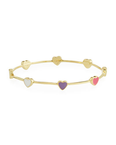 Girls' Heart Station 14k Gold Plated Brass Bangle, Multicolored