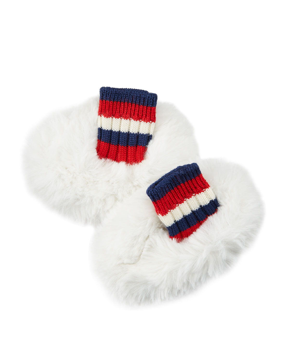 Faux-Fur Reversible Sylvie Web Baby Booties in White