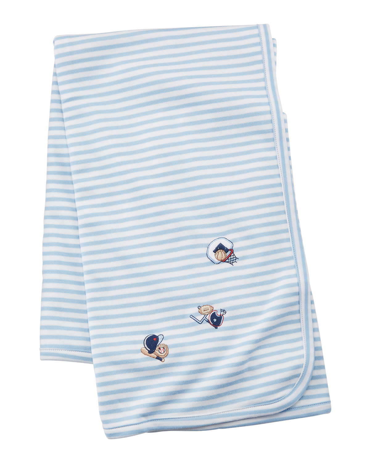 Fall Sports Striped Embroidered Pima Baby Blanket