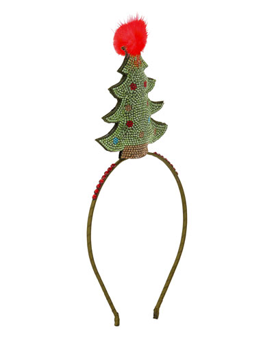 Bari Lynn Girls' Crystal Christmas Tree Headband w/