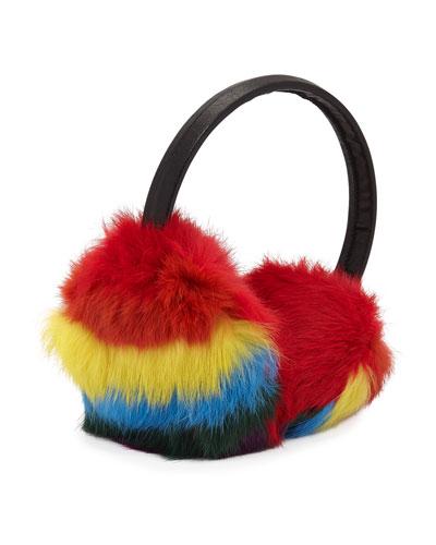 Bari Lynn Girls' Multicolored Fur Earmuffs