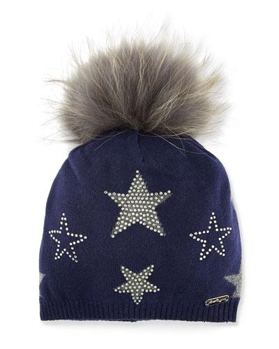Bari Lynn Girls' Crystal Star Studded Beanie Hat