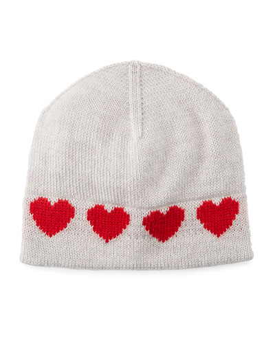 Virgin Wool Heart Intarsia Beanie Hat, Size 0-18 Months