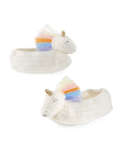 Rainbow Unicorn Crochet Booties, Baby