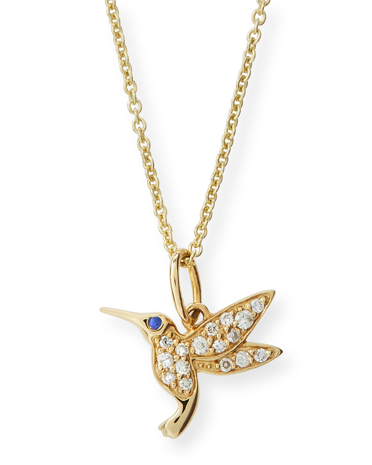 Girls' 14K Gold Hummingbird Charm Necklace