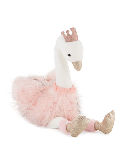 Stuffed Swan Toy with Crown, 32