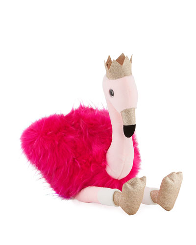 Stuffed Flamingo Toy with Crown, 32