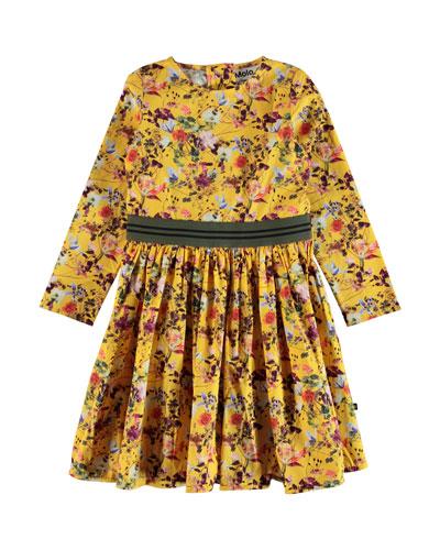 Christin Floral Long-Sleeve Dress, Size 2T-14