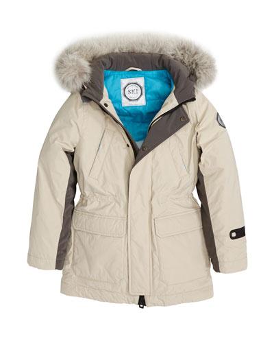 Boys' Hooded Ski Jacket w/ Faux-Fur Trim, Size 10-14