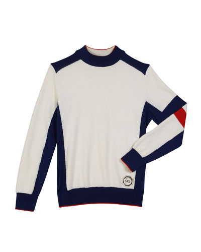 Boys' Colorblock Mock-Neck Sweater, Size 10-14