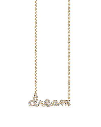 14k Yellow Gold Dream Script Necklace, Youth 7-14