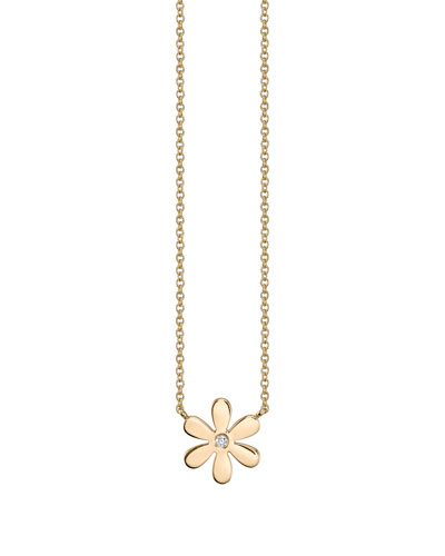 14k Yellow Gold Single Daisy Charm Necklace, Youth 7-14