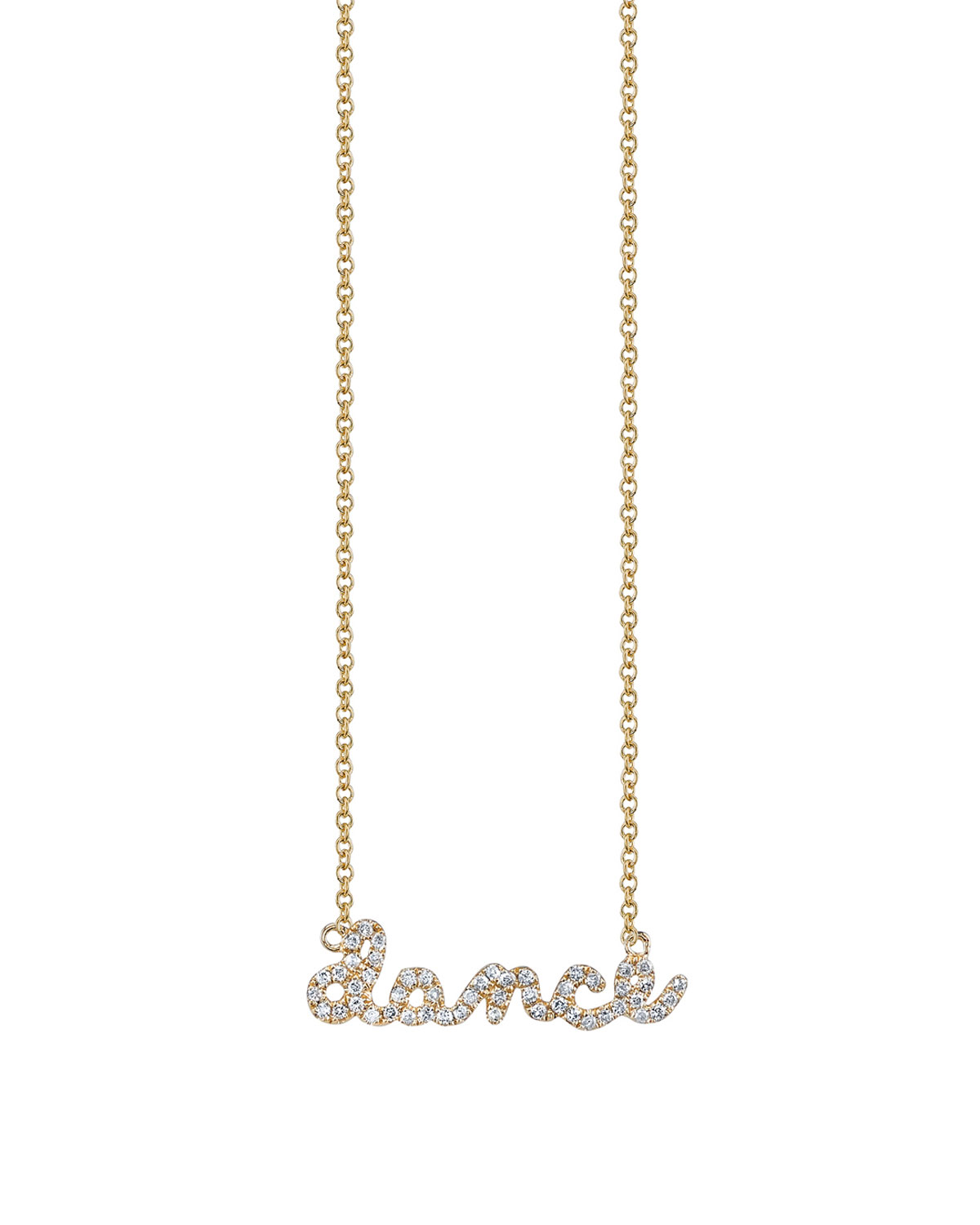 Sydney Evan  14K YELLOW GOLD DANCE SCRIPT NECKLACE, YOUTH 7-14