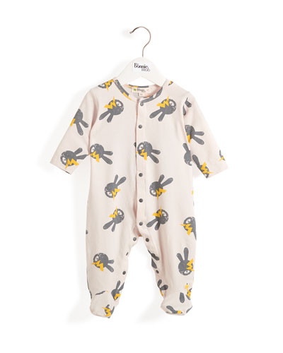 Bunny & Lightning Bolt Printed Footie Pajamas, Size 0-9 Months